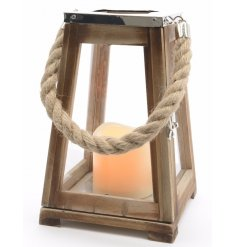 A fantastic wooden beach lantern with artificial LED candle included.