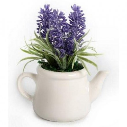 Ceramic Teapot With Lavender, 11cm