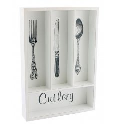 White cutlery tray for use in the kitchen