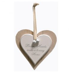 Shabby and chic hanging heart with popular text