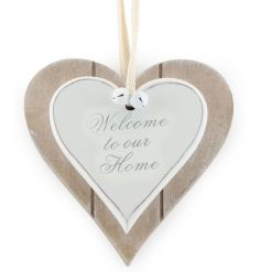 Shabby and chic double heart plaque with Home text