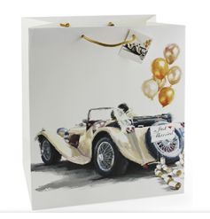 A large gift bag with a Classic Wedding Car design
