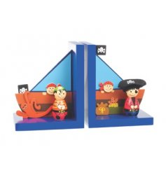 Set of wooden bookends in a Pirate design by Orange Tree Toys