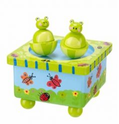 By Orange Tree Toys, a frog music box with bright coloured finish