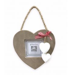 Hanging wooden heart picture frame