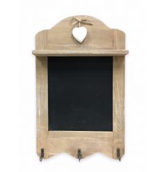 Shabby wooden hanging chalkboard with hooks