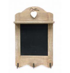 Rustic Wooden Blackboard With Hooks 37cm