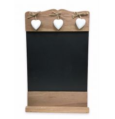Rustic wall hanging blackboard with hanging heart