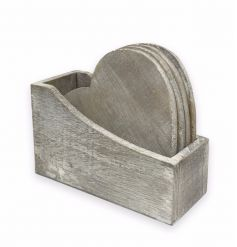 Rustic wooden coasters in heart shape, complete with wooden stand.