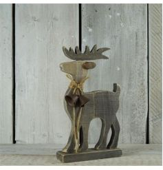 A rustic style wooden reindeer ornament with bell