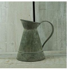 Zinc storage jug in a rustic design, perfect for displaying flowers