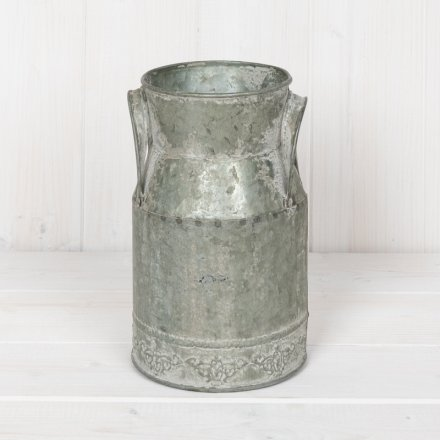 Distressed Zinc Churn, 18cm