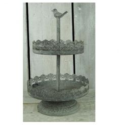 Rustic metal plate tiered stand with bird