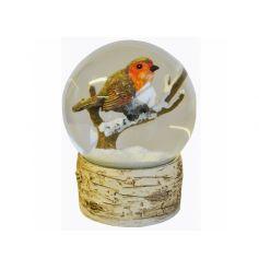 A wonderful winter robin snow globe with a faux bark base.