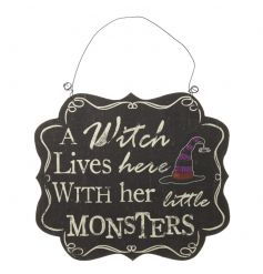 A Witch Lives Here With Her Little Monsters chalkboard style Halloween sign.