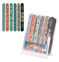 An assortment of 6 colourful and stylish nail files including flamingo designs.