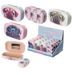 Fun and quirky contact lenses case with a pug design.