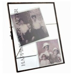 Happily ever After text on a chic metal standing picture frame