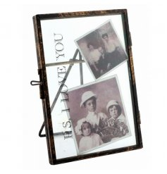 Chic standing picture frame with pretty PS I Love You text