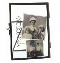 A chic standing picture frame with distressed memories text