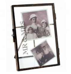 A standing picture frame with distressed Mr & Mrs text