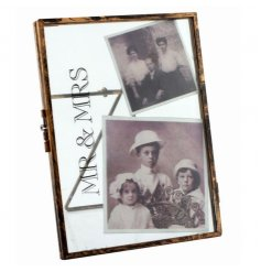 Decorative standing picture frame with distressed Mr & Mrs text