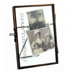 Distressed Congratulations text on a chic standing picture frame