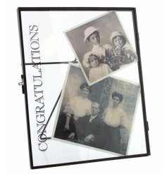 Chic metal standing picture frame with distressed Congratulations text