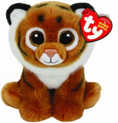 Official TY brown tiger soft toy with adorable sparkly eyes. Soft to touch for little fingers to enjoy.