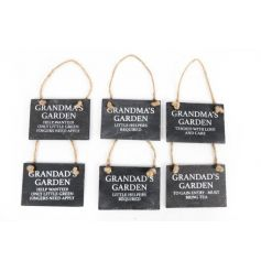 Mini slate signs in an assortment of 6 Grandma and Grandad slogans