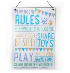 Popular playroom rules text on a metal sign finished in pretty pastels