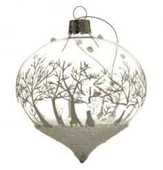 Add this glitter glass bauble to your tree this season for some festive sparkle.