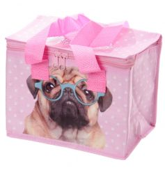Bright and colourful lunch bag with pug image