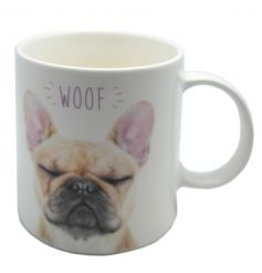 A cute french bulldog mug with WOOF text. Comes gift boxed.