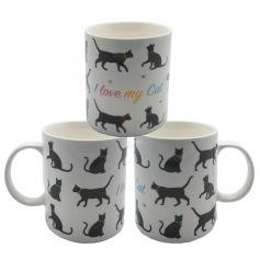 Cute cat china mug with I Love My Cat text