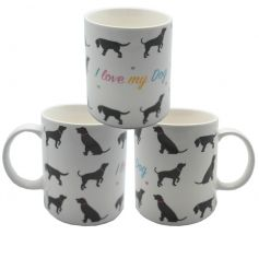 Bone china mug with popular I Love My Dog text and print