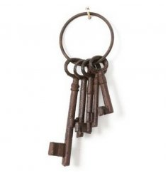 Rustic style iron keys for ornamental use in the home or garden