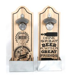 An assortment of two wooden bottle openers with Beer slogans