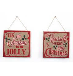 Assortement of 2 Christmas wall plaques with traditional finish