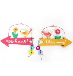 Bright arrow signs in an assortment of two Easter designs