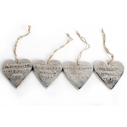 Metal Assortment of 4 worded hearts