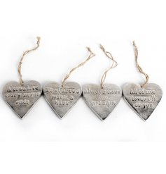 An assortment of 4 hanging worded hearts, perfect items for around the house