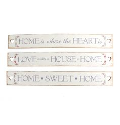 Three assorted slogan plaques with sweet home text