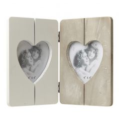 Heart shaped wooden picture frame in a natural wood