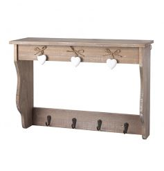 A charming wooden shelf unit with 4 hooks. A chic decorative home accessory.