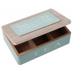 A duck egg blue tea box with lid
