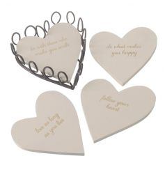 Set of four heart coasters with holder