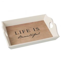 Shabby and chic wooden tray with Life Is Beautiful text