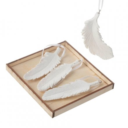 White Resin Hanging Feathers Pack of 4