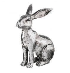 An ornamental silver rabbit decoration